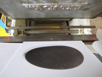 printed stone before debossing